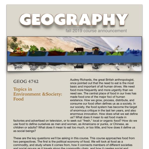 GEOG 4742 Course Announcement for Fall 2019