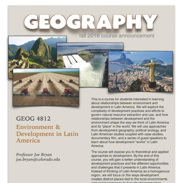 GEOG 4812 Course Flyer for Fall 2018