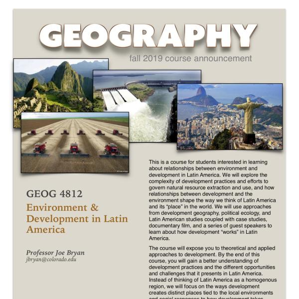 GEOG 4812 Course Announcement for Fall 2019