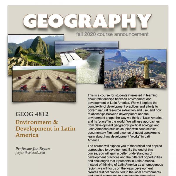 GEOG 4812 Course Flyer for Fall 2020