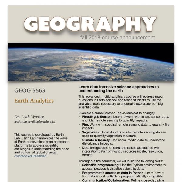 GEOG 5563 Course Flyer for Fall 2018