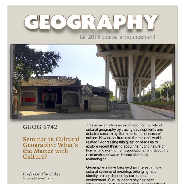 GEOG 6742 Course Announcement for Fall 2019