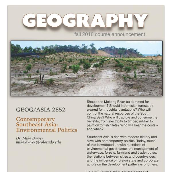 GEOG/ASIA 2852 Course Flyer for Fall 2018