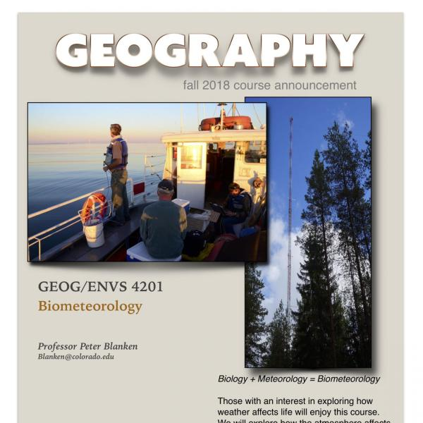 GEOG/ENVS 4201 Course Flyer for Fall 2018