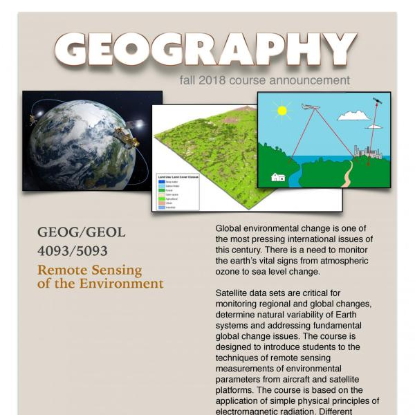 GEOG/GEOL 4093/5093 Course Flyer for Fall 2018