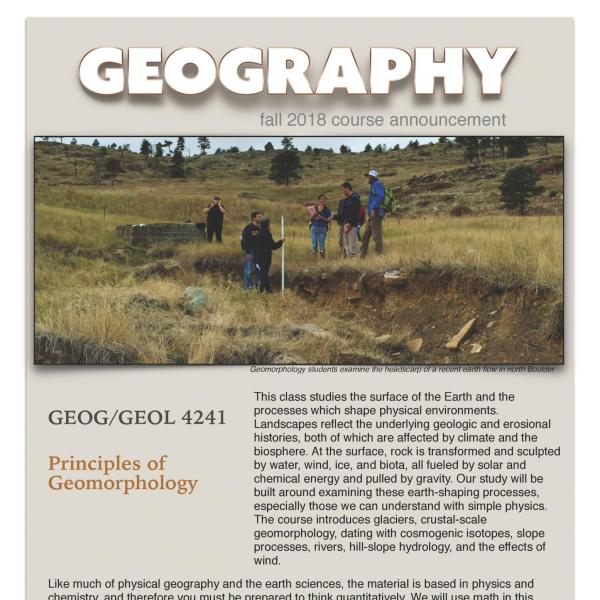 GEOG/GEOL 4241 Course Flyer for Fall 2018