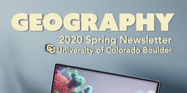 2020 Spring Newsletter cover of laptop with photo of coronavirus