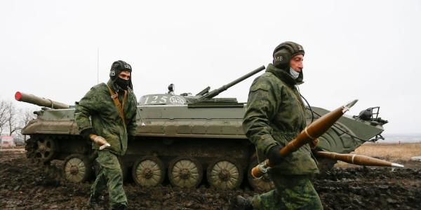 Pro-Russian militants of the self-proclaimed Donetsk People's Republic conduct military exercises at a shooting range not far from the city of Gorlivka, Ukraine, on Jan. 28.