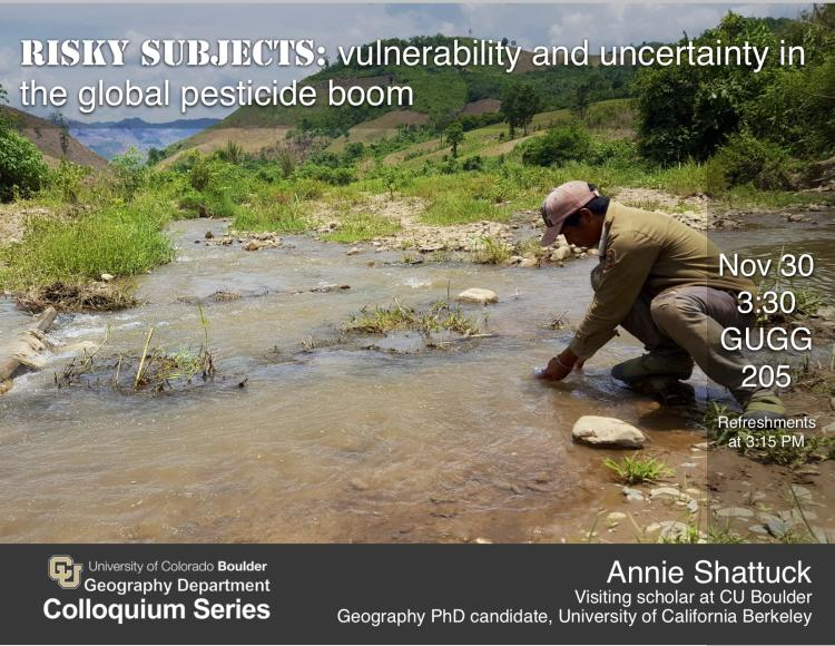 Colloquium poster with title, date, and photo of man stooping in a stream