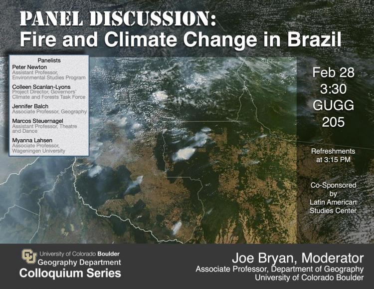 Poster with details and satellite photo of Brazilian fires