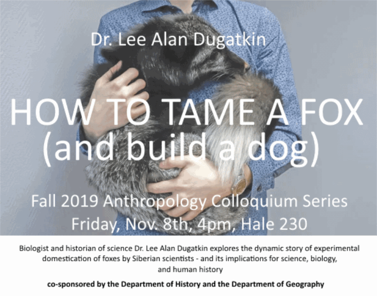 Poster with colloquium time, location, description and person holding a dog