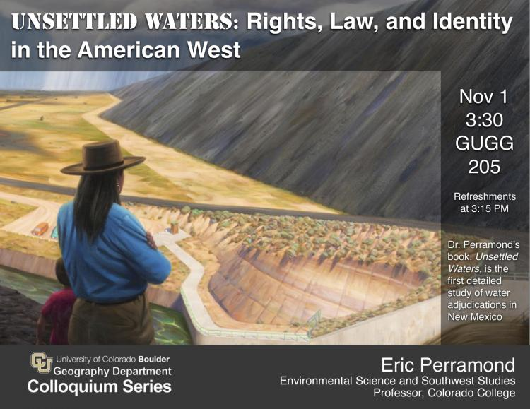 Colloquium poster with woman overlooking vast water project with dam