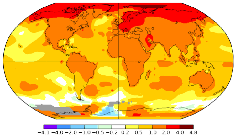 Arctic temperatures have been rising faster than the global average. This map shows the average change in degrees Celsius from 1960 to 2019.  NASA-GISS