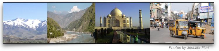 Photo collage of S Asia: mountains, river, Taj Mahal, city traffic