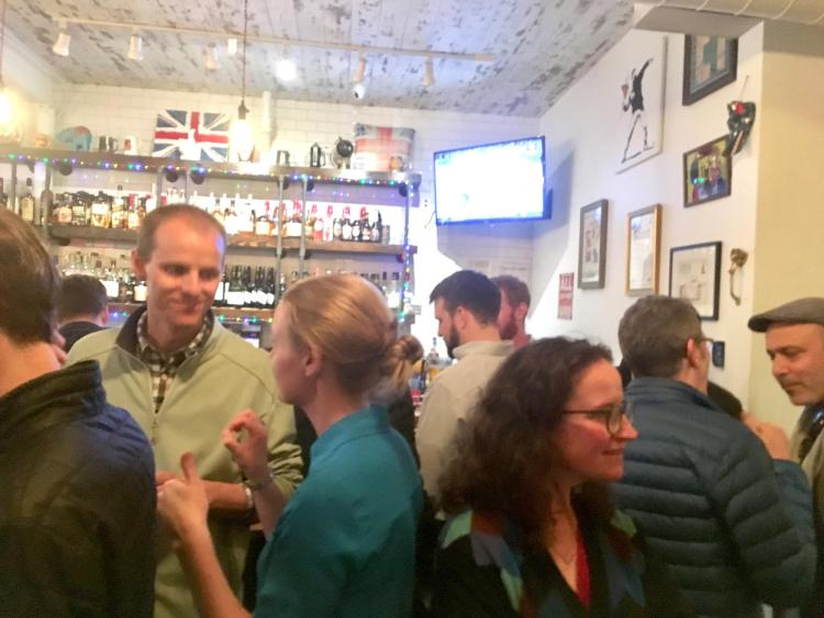 Crowd of people in a pub