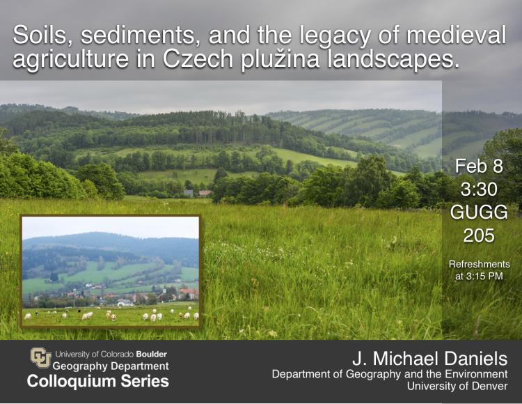 Colloquium poster with title, date, and photo of Czech country landscapes
