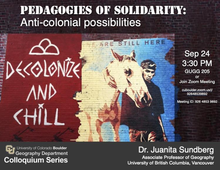 Colloquium poster with title, date, and graffiti of man with a horse