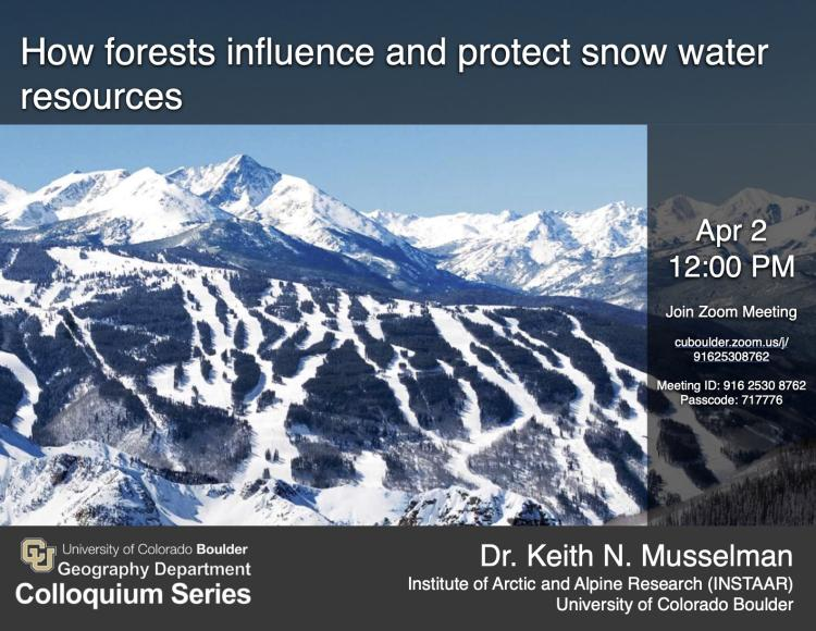 Colloquium flyer with meeting time and photo of snow covered mountains