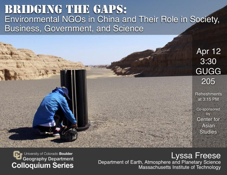 Colloquium poster with Woman squatting by research equipment in rocky desert-like landscape