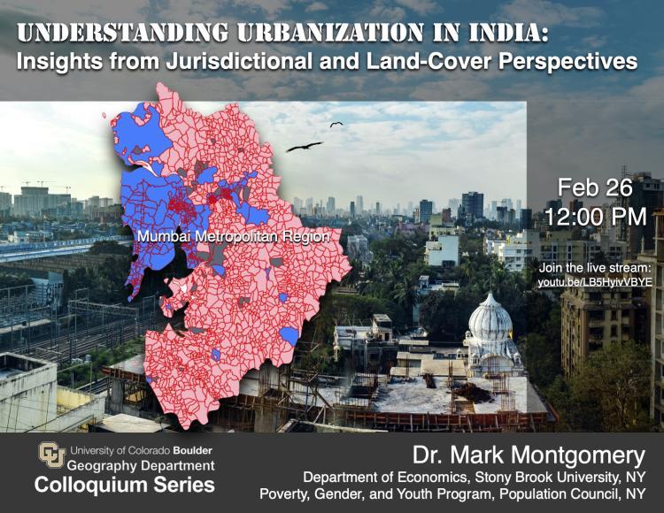 Graphic of the jurisdictional space of the Mumbai Metropolitan Region overlaid onto photo of Mumbai. Includes colloquium date, time, link, presenter's title info.