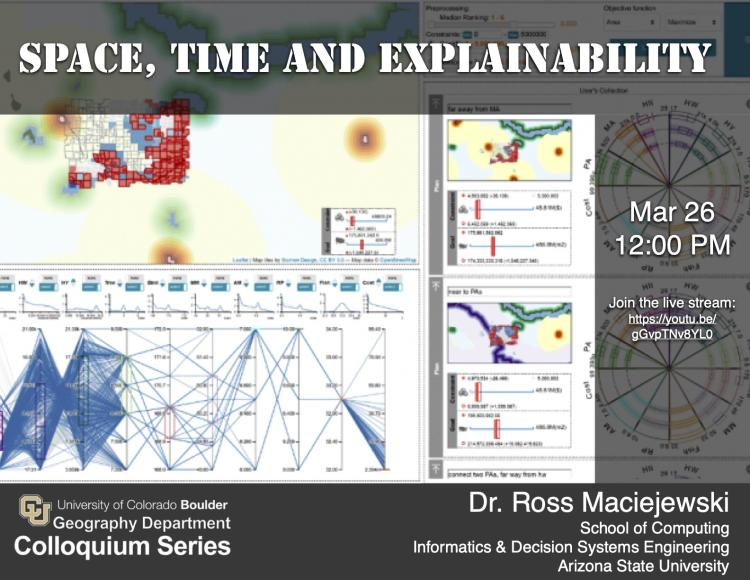 Colloquium poster with date, time, link and Spatiotemporal software interface background image