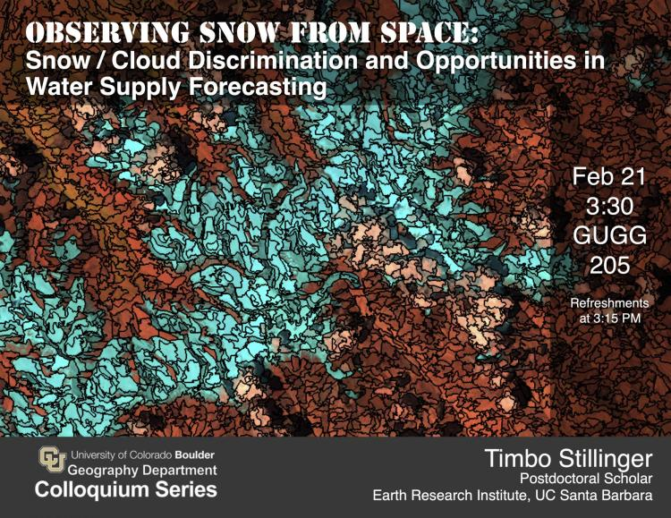 Colloquium poster with title, date, and photo of satellite view of snow