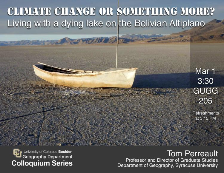Colloquium poster - old boat on a dry lake bed