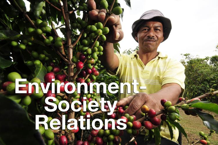 """Environmental-Society Relations"" overlaid on photo of smiling man picking coffee beans off trees"