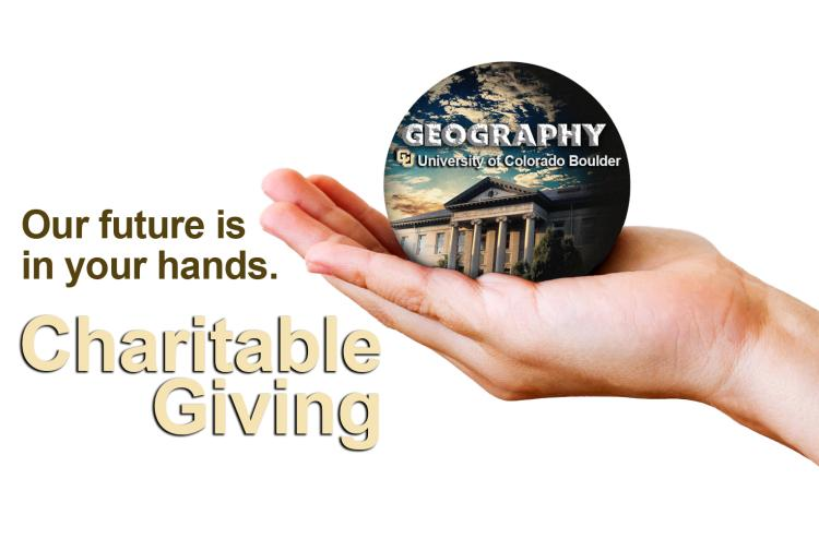 """A hand holding the GEOG logo with the words """"Our future is in your hands"""" and """"Charitable Giving"""""""