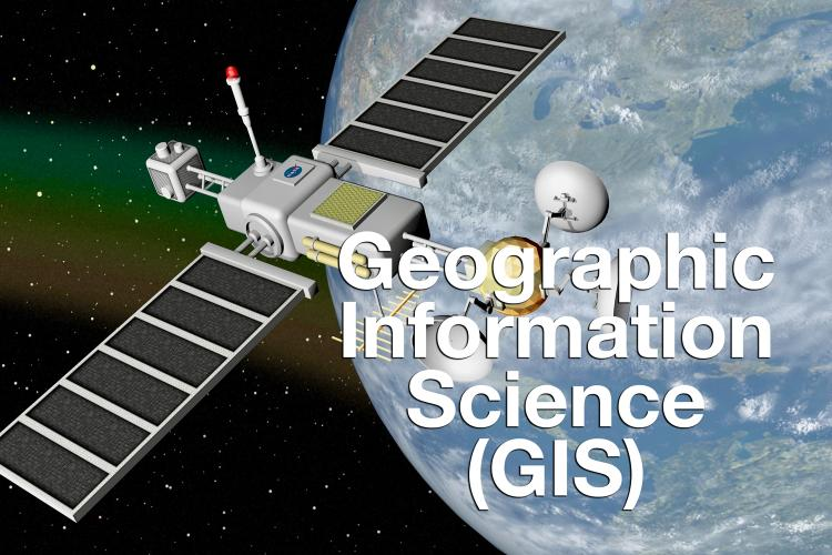 """Geographic Information Science (GIS)"" overlaid on photo of satellite above Earth"