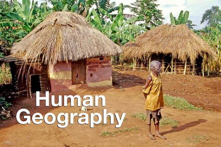 """Human Geography"" overlaid on photo of old man in front of thatched roof hut"