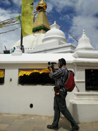 Man shooting video in Nepal