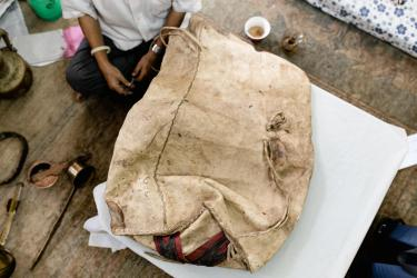 Nepalese goat skin bag