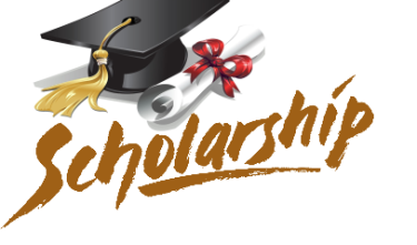 scholarship graphic with mortarboard and rolled up diploma