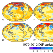 image of 8 globes showing DJF surface temperatures 1979-2012