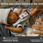 Colloquium Poster with infant, title, time