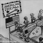 "cartoon of people crossing a crumbling bridge labeled ""American Dream"""