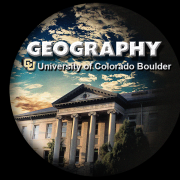 Geog logo of spherical shape containing GUGG with outer space in the background