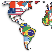Graphic map of the world with each country's flag
