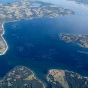 Aerial shot of peninsula and bay