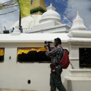 Man shooting video in Nepal