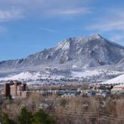 Aerial view of CU Boulder campus with snow