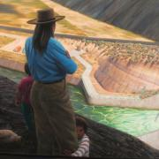 woman overlooking vast water project with dam