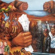 Bolivian mural depicting history of Bolivian