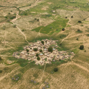 Aerial photo of African village