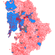 Graphic of the jurisdictional space of the Mumbai Metropolitan Region, with statutory towns (blue), census towns (gray), and rural revenue villages (pink).