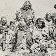 Drawing of a group of Algerian villagers huddled together