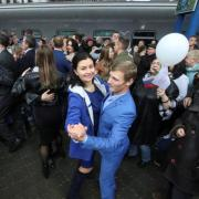 A celebration of the completion of a railway line from Russia in the Crimean city of Sevastopol, December 2019