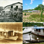 4 photos showing similar past and present for housing and people on houseboats