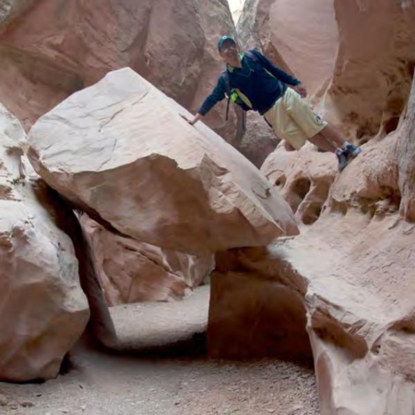 balancing on a rock